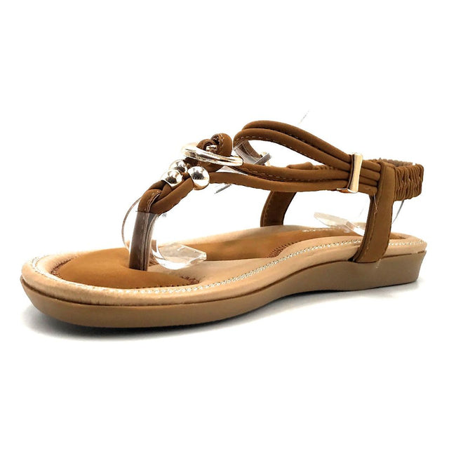 Forever Erita-19 Tan Color Flat-Sandals Left Side view, Women Shoes