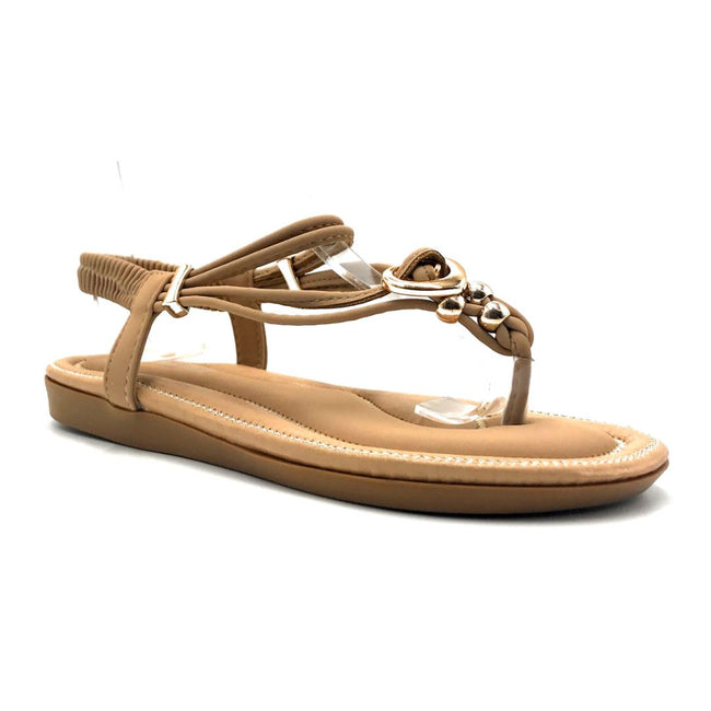 Forever Erita-19 Taupe Color Flat-Sandals Right Side View, Women Shoes