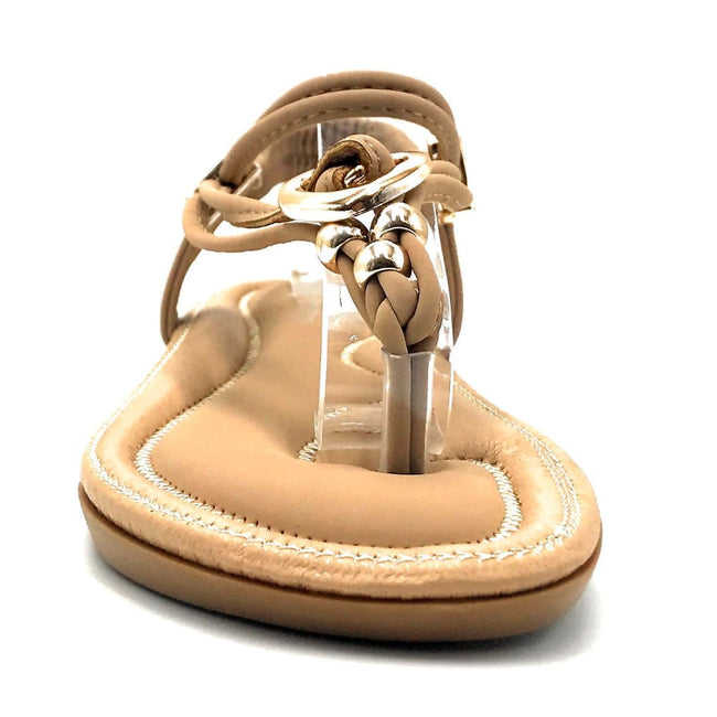 Forever Erita-19 Taupe Color Flat-Sandals Front View, Women Shoes
