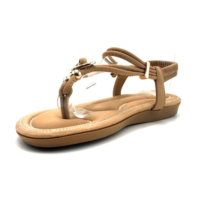 Forever Erita-19 Taupe Color Flat-Sandals Left Side view, Women Shoes
