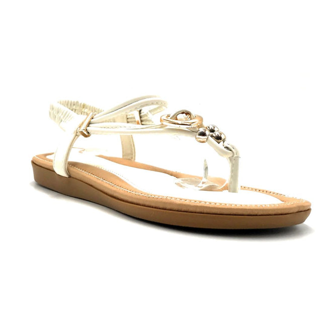 Forever Erita-19 White Color Flat-Sandals Right Side View, Women Shoes