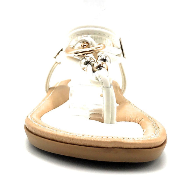 Forever Erita-19 White Color Flat-Sandals Front View, Women Shoes