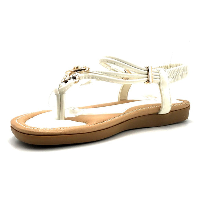 Forever Erita-19 White Color Flat-Sandals Left Side view, Women Shoes