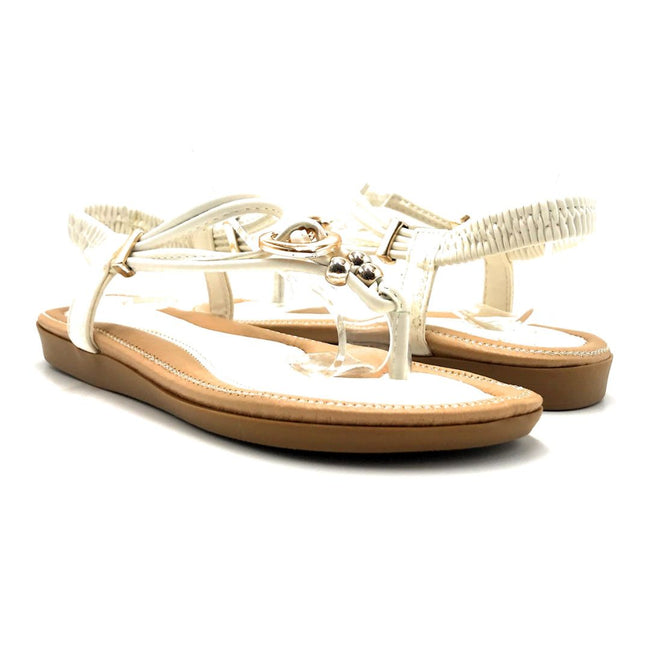 Forever Erita-19 White Color Flat-Sandals Both Shoes together, Women Shoes
