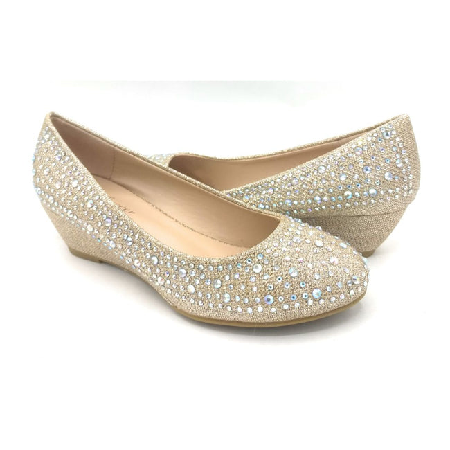 Forever Fisher-02 Champagne Color Wedge Shoes for Women