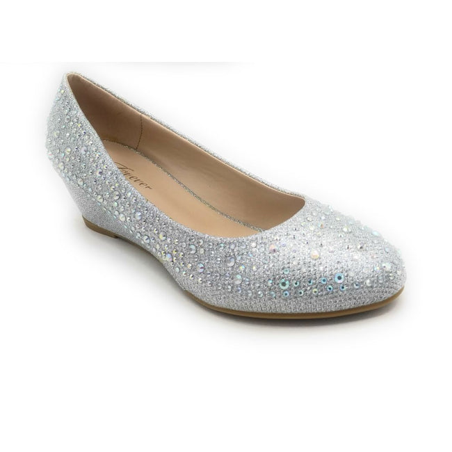Forever Fisher-02 Silver Color Wedge Shoes for Women