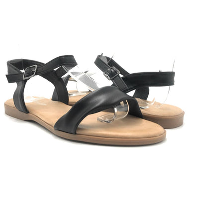 Forever Handy-08 Black Color Flat-Sandals Shoes for Women