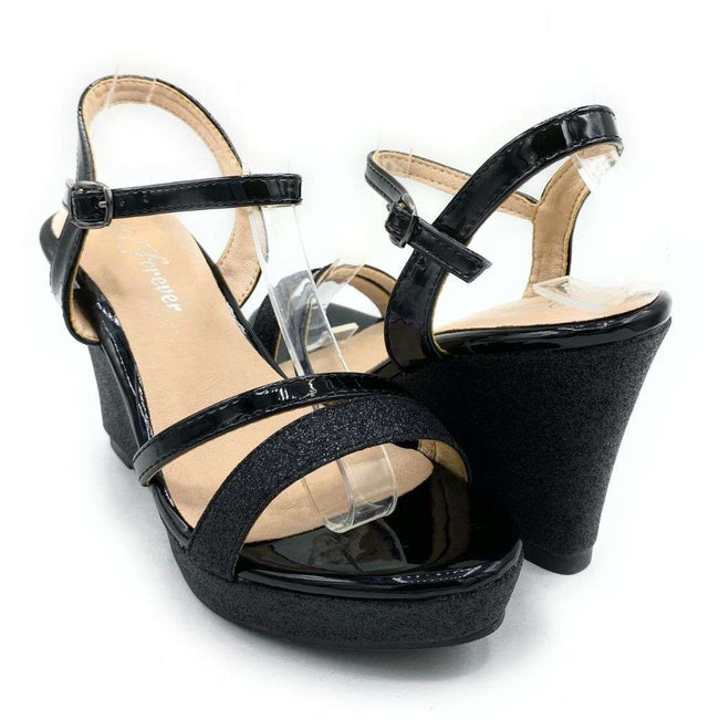 Forever Happy-02 Black Color Wedge Shoes for Women