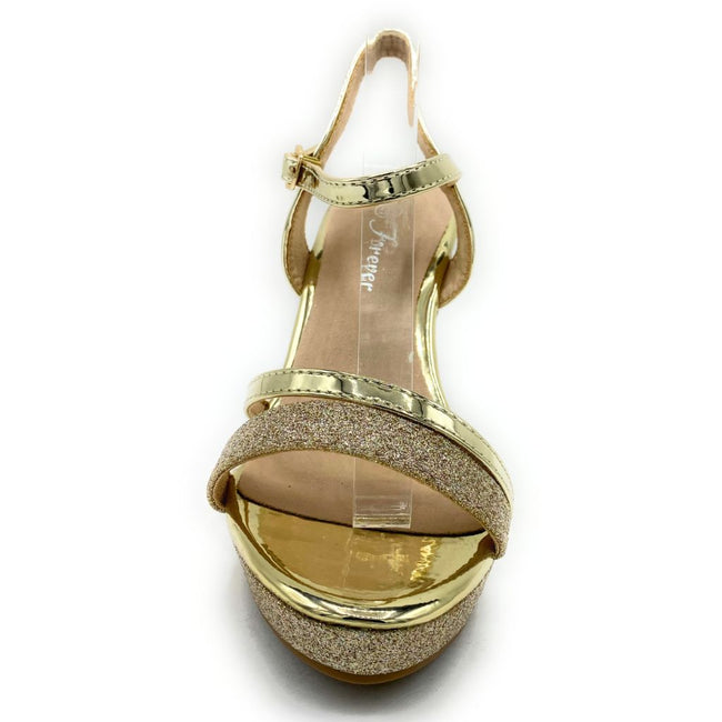 Forever Happy-02 Gold Color Wedge Shoes for Women
