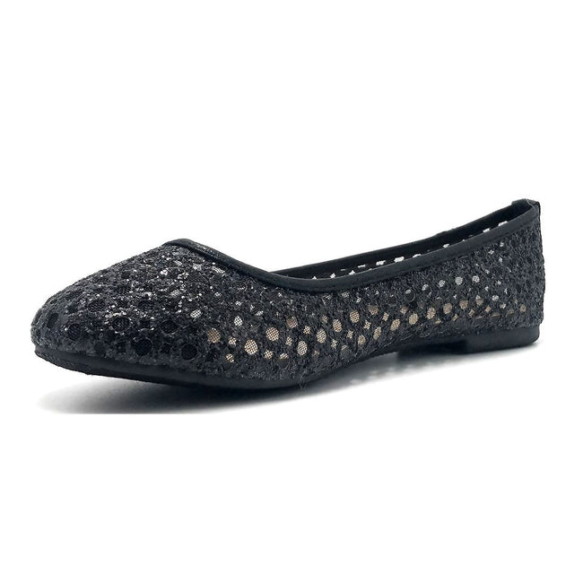 Forever Karra-54 Black Color Ballerina Left Side view, Women Shoes