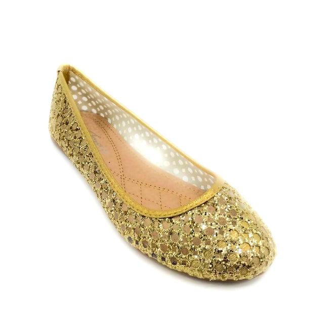 Forever Karra-54 Champagne Color Ballerina Right Side View, Women Shoes