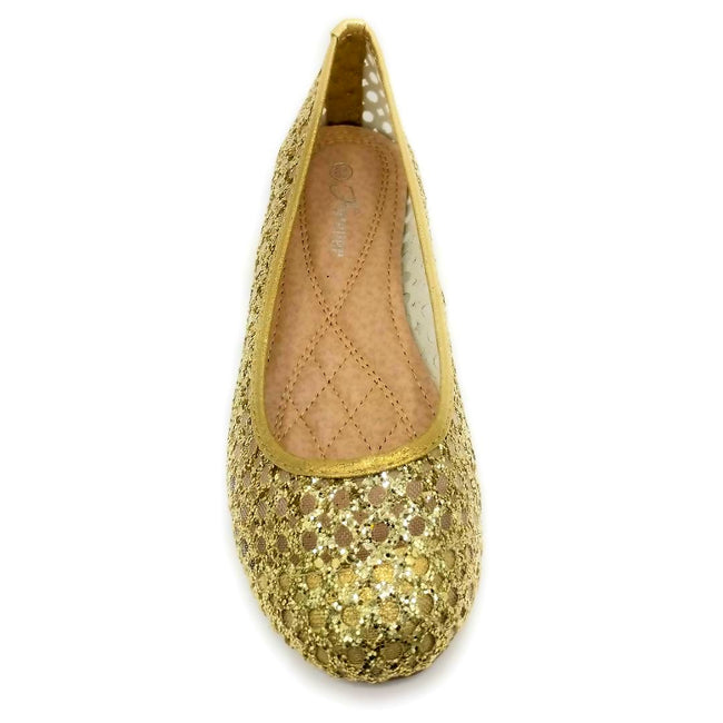 Forever Karra-54 Champagne Color Ballerina Front View, Women Shoes