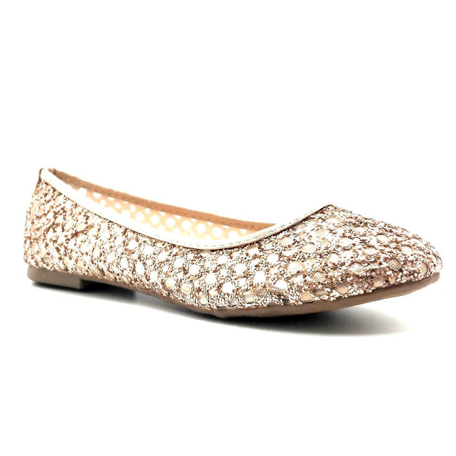 Forever Karra-54 Rose_Gold Color Ballerina Right Side View, Women Shoes