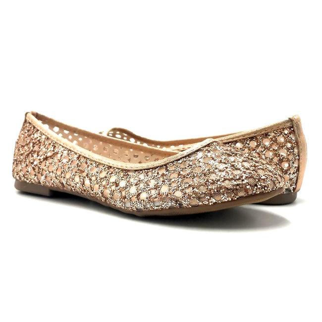 Forever Karra-54 Rose_Gold Color Ballerina Both Shoes together, Women Shoes