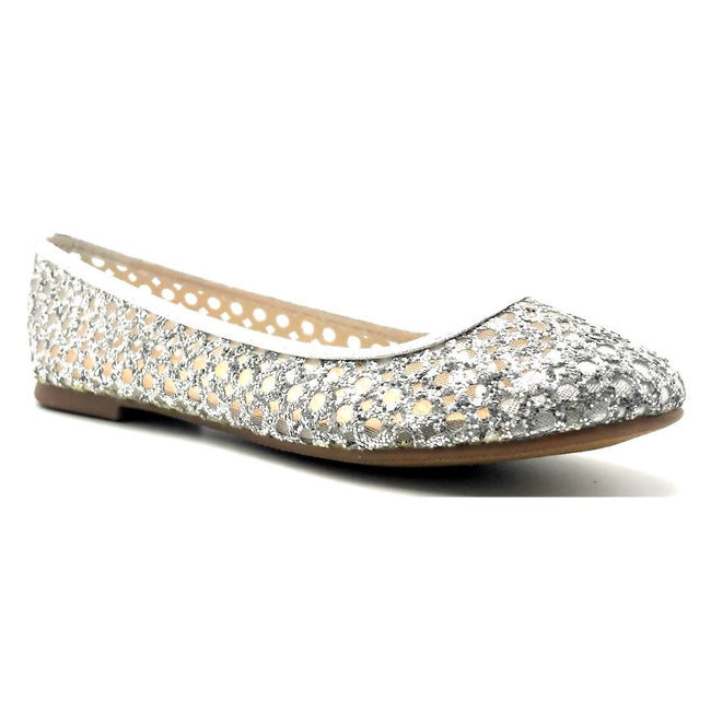 Forever Karra-54 Silver Color Ballerina Right Side View, Women Shoes