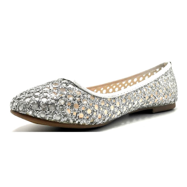 Forever Karra-54 Silver Color Ballerina Left Side view, Women Shoes