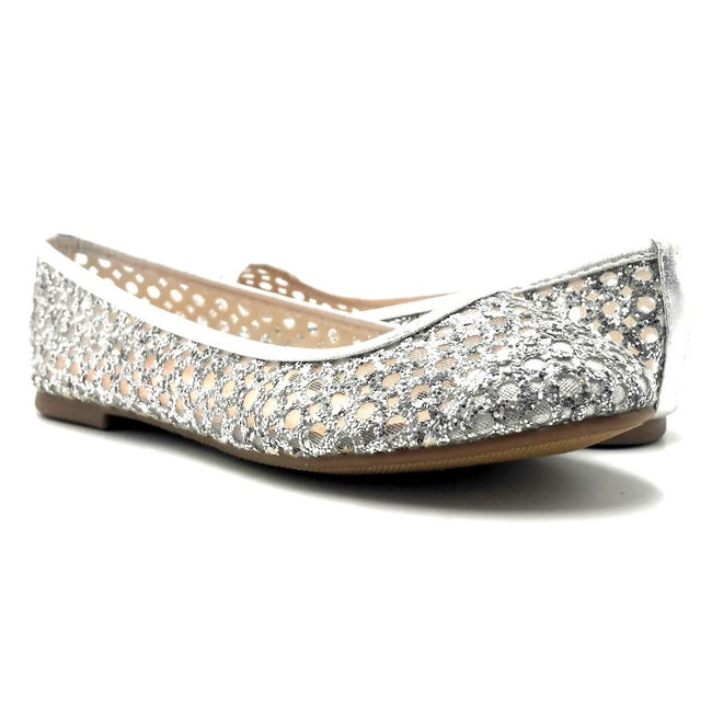 Forever Karra-54 Silver Color Ballerina Both Shoes together, Women Shoes