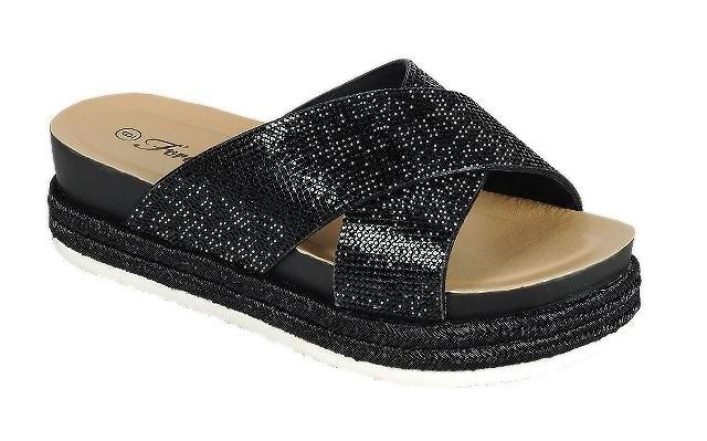 Forever Lakota-37 Black Color Flat-Sandals Right Side View, Women Shoes