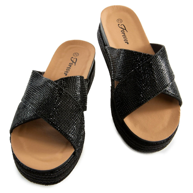 Forever Lakota-37 Black Color Flat-Sandals Left Side view, Women Shoes