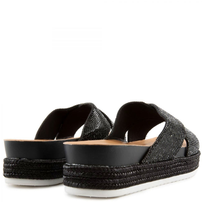 Forever Lakota-37 Black Color Flat-Sandals Both Shoes together, Women Shoes