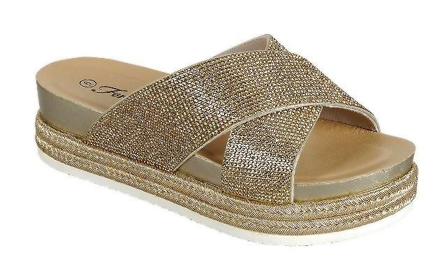 Forever Lakota-37 Gold Color Flat-Sandals Front View, Women Shoes