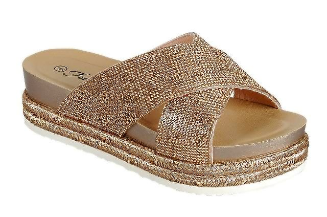 Forever Lakota-37 Rose Gold Color Flat-Sandals Right Side View, Women Shoes