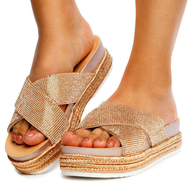 Forever Lakota-37 Rose Gold Color Flat-Sandals Front View, Women Shoes