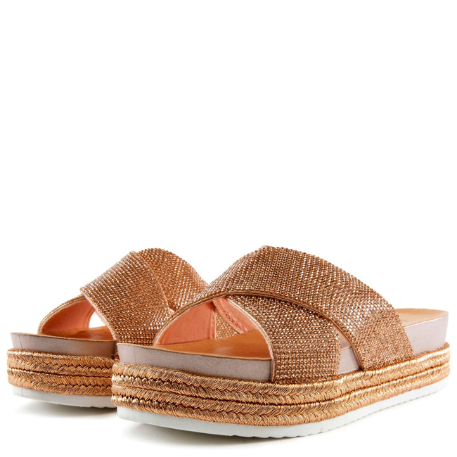Forever Lakota-37 Rose Gold Color Flat-Sandals Left Side view, Women Shoes