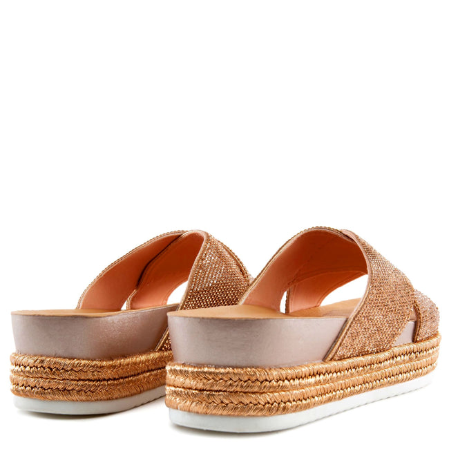 Forever Lakota-37 Rose Gold Color Flat-Sandals Both Shoes together, Women Shoes
