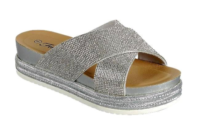 Forever Lakota-37 Silver Color Flat-Sandals Right Side View, Women Shoes