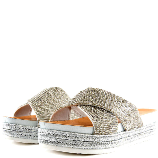 Forever Lakota-37 Silver Color Flat-Sandals Left Side view, Women Shoes