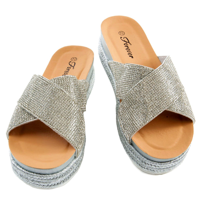 Forever Lakota-37 Silver Color Flat-Sandals Both Shoes together, Women Shoes