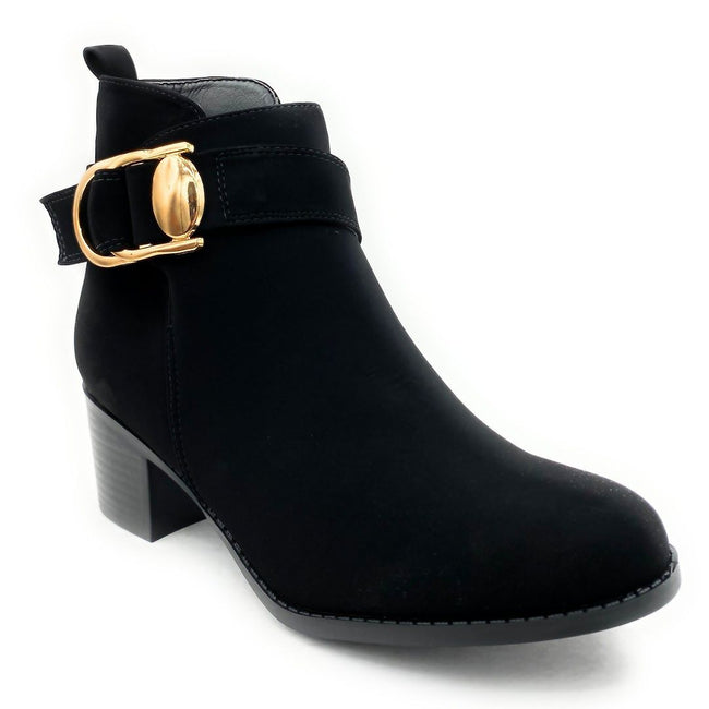Forever Link Annabelle-9 Black Nub Color Boots Right Side View, Women Shoes