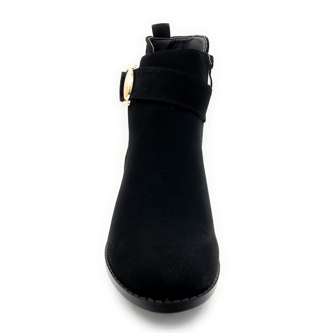Forever Link Annabelle-9 Black Nub Color Boots Front View, Women Shoes