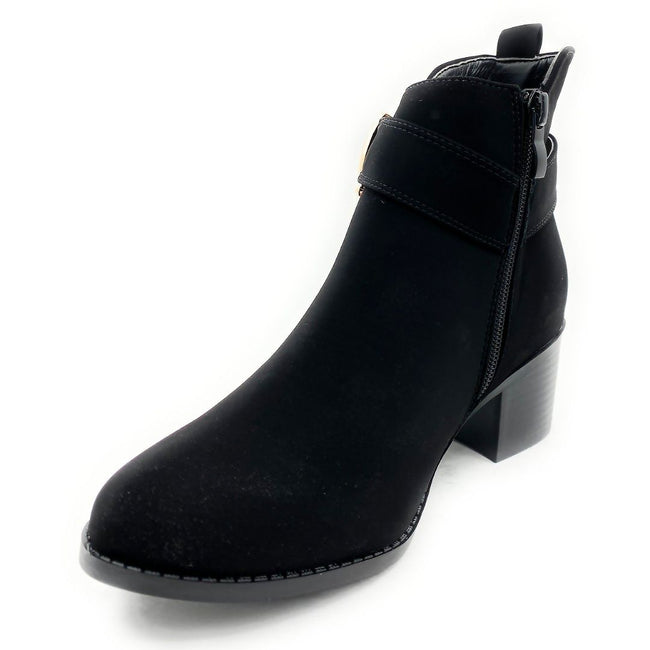 Forever Link Annabelle-9 Black Nub Color Boots Left Side view, Women Shoes