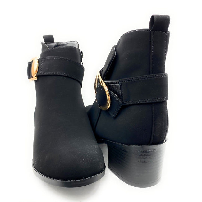 Forever Link Annabelle-9 Black Nub Color Boots Both Shoes together, Women Shoes