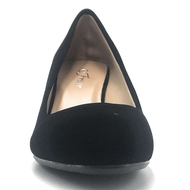 Forever Link Doris-22 Black Nub Color Wedge Shoes for Women