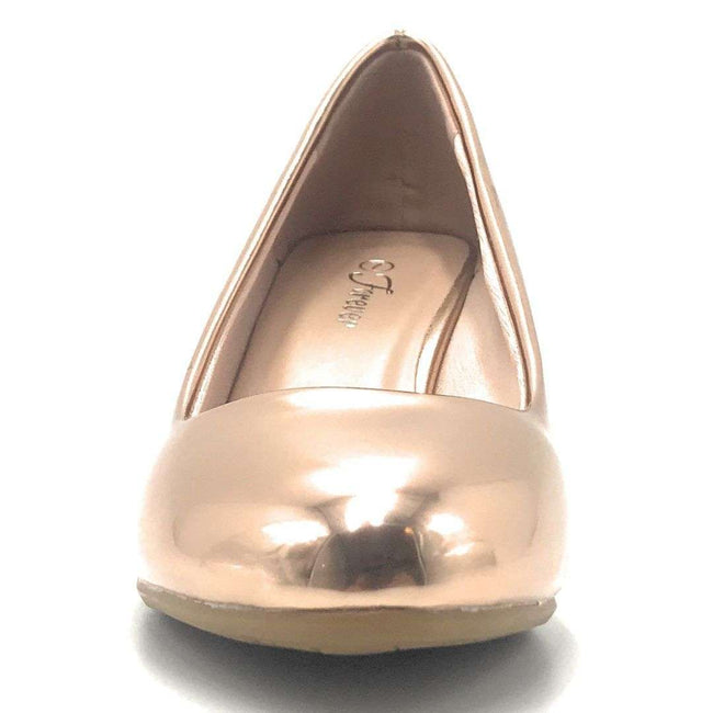 Forever Link Doris-22 Rose Gold Color Wedge Shoes for Women