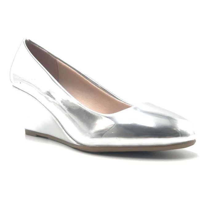 Forever Link Doris-22 Silver Color Wedge Shoes for Women