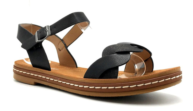 Forever Link Enhance-63 Black Color Flat-Sandals Right Side View, Women Shoes