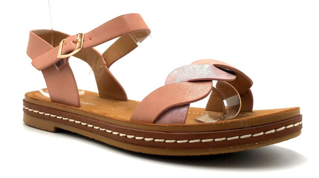 Forever Link Enhance-63 Pink Color Flat-Sandals Right Side View, Women Shoes