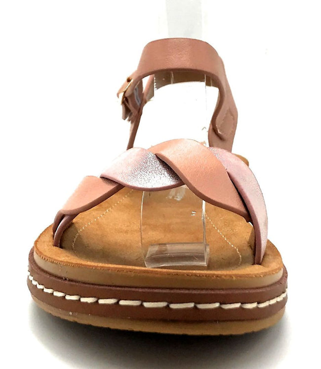 Forever Link Enhance-63 Pink Color Flat-Sandals Front View, Women Shoes