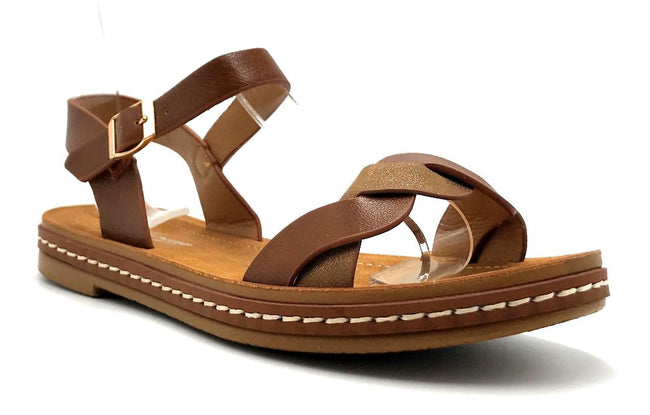 Forever Link Enhance-63 Tan Color Flat-Sandals Right Side View, Women Shoes