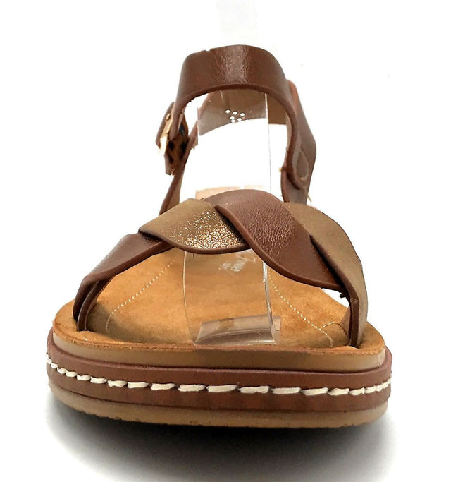 Forever Link Enhance-63 Tan Color Flat-Sandals Front View, Women Shoes
