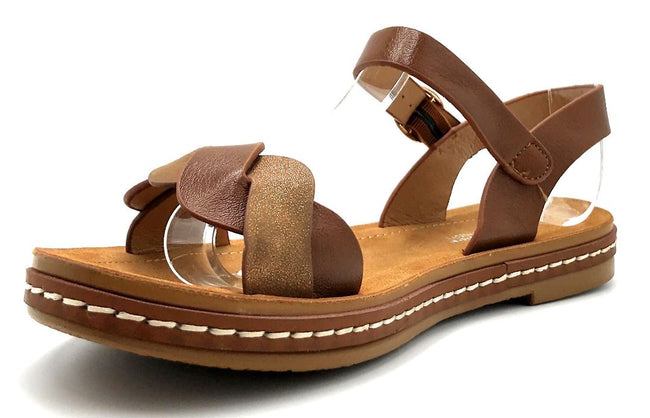 Forever Link Enhance-63 Tan Color Flat-Sandals Left Side view, Women Shoes