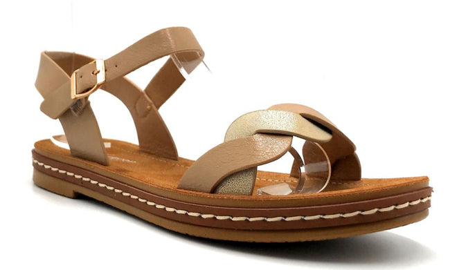 Forever Link Enhance-63 Taupe Color Flat-Sandals Right Side View, Women Shoes