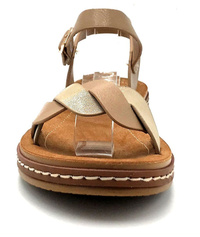 Forever Link Enhance-63 Taupe Color Flat-Sandals Front View, Women Shoes