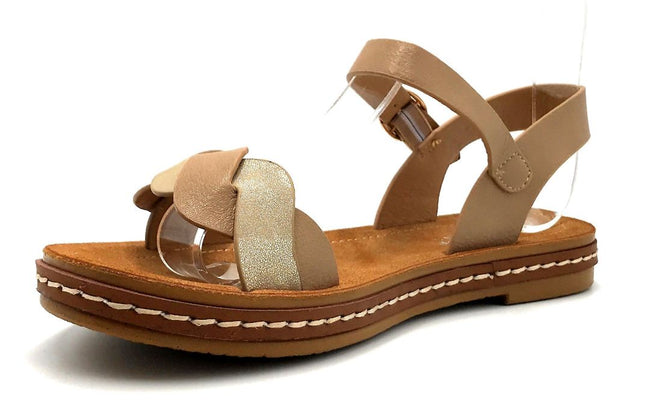 Forever Link Enhance-63 Taupe Color Flat-Sandals Left Side view, Women Shoes