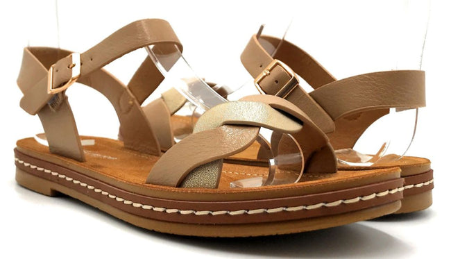 Forever Link Enhance-63 Taupe Color Flat-Sandals Both Shoes together, Women Shoes