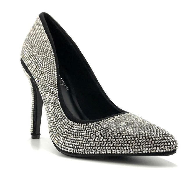 Forever Link Event-92 Black/Silver Color Pumps Right Side View, Women Shoes